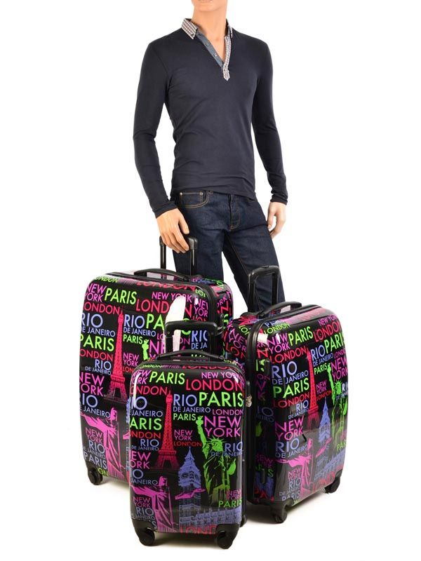 bagages pas chers travel multicolor i print shinny 3303 lot. Black Bedroom Furniture Sets. Home Design Ideas