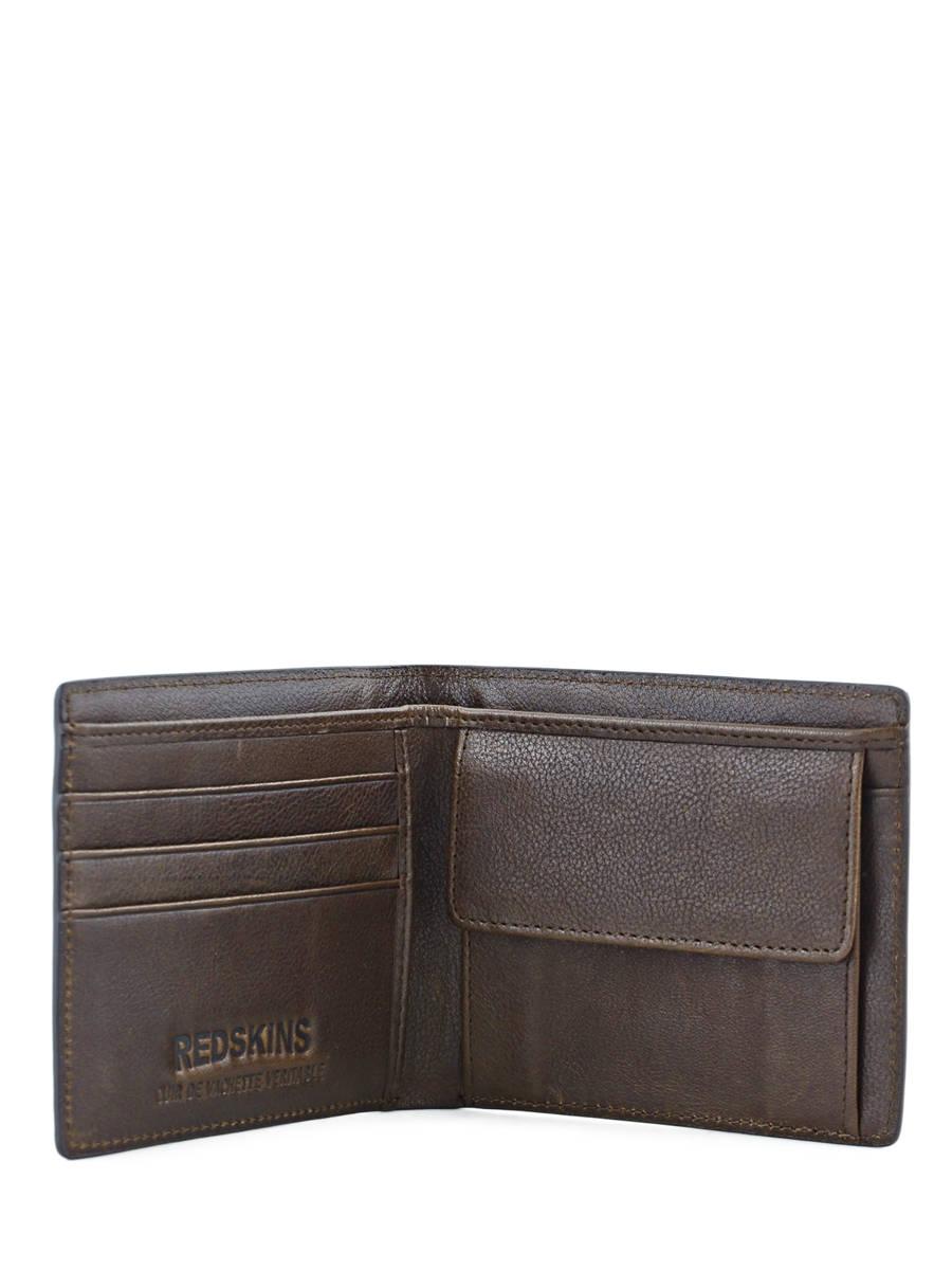 Portefeuille homme redskins wallet marron fonce en vente for Portefeuille homme