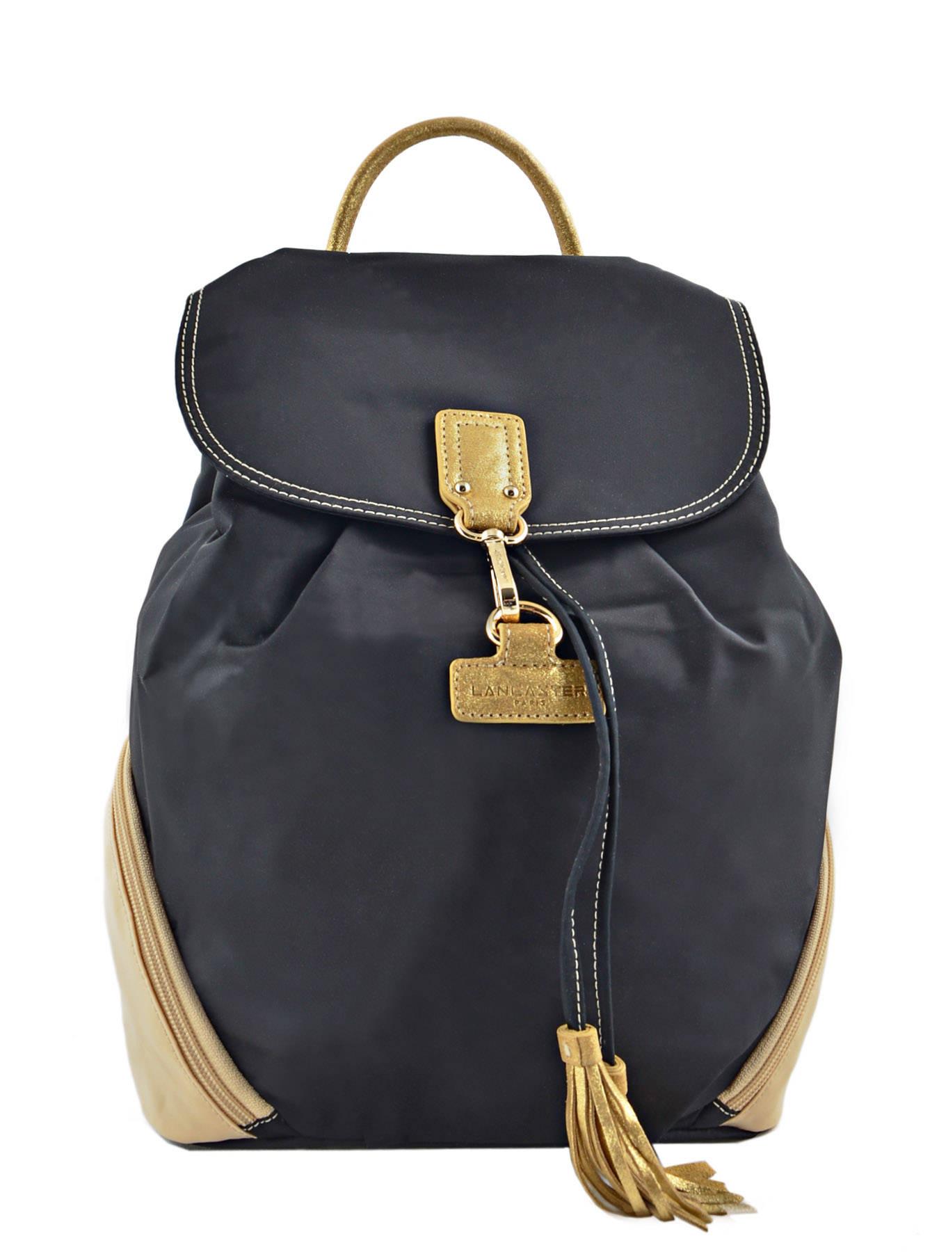 sac dos lancaster basic pompom noir beige or en vente au. Black Bedroom Furniture Sets. Home Design Ideas