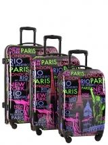 Lot De Valise 4 Roues Rigide Travel Multicolore print shinny 5006-LOT
