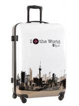 Valise 4 Roues Rigide Travel Blanc print shinny PT5002-L