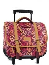 Cartable A Roulettes 2 Compartiments Tann's Violet globetrotter peace/love GTFTCA38