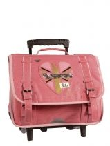 Cartable A Roulettes 2 Compartiments Ikks Rose london LONTCA38
