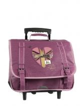 Cartable A Roulettes 2 Compartiments Ikks Violet london LONTCA38