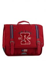 Cartable 2 Compartiments Ikks Rouge american college 4ACCA38