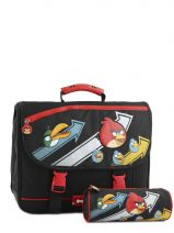 Cartable 2 Compartiment Angry birds Noir cartoon AHB13004