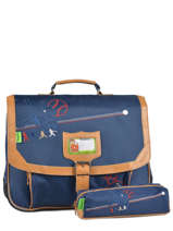 Cartable 2 Compartiments + Trousse Offerte Tann's Blue baseball 5BACA38