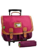 Cartable A Roulettes 2 Comp + Trousse Offerte Tann's Pink kid classic 5CLTCA41